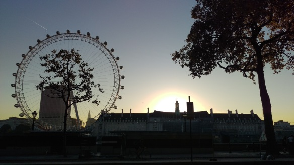View over the Thames at sunrise from Whitehall Gardens