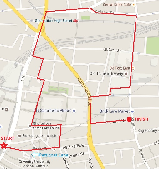 Spitalfields Walking Tour map