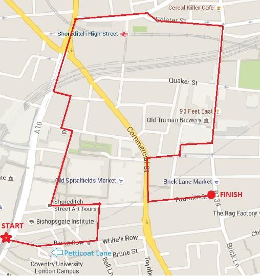 Spitalfields Walking Tour map
