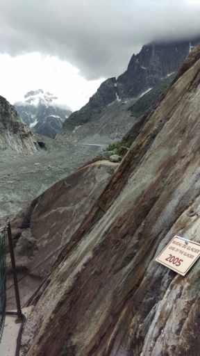 This sign marks where the glacier was in 2005. Makes you realise how much it has melted as you can't see it at all. (This was about a third of the way down to the Ice Caves)