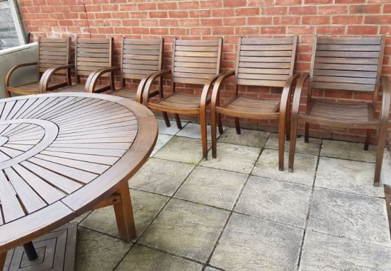 Outdoor setting freshly stained