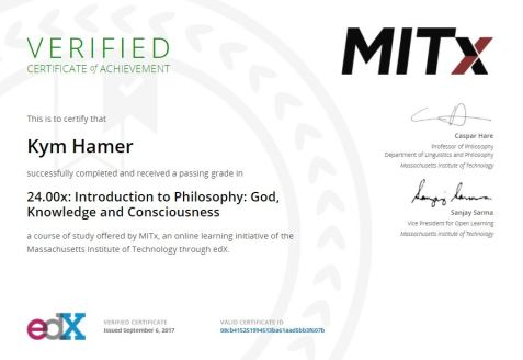 Intro to Philosophy certificate