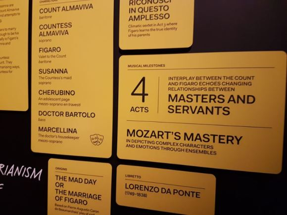 Boards on each opera highlight the exhibition's themes of power, passion and politics